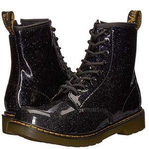 Dr. Martens Kids Patent Black Glitter Delaney Boot